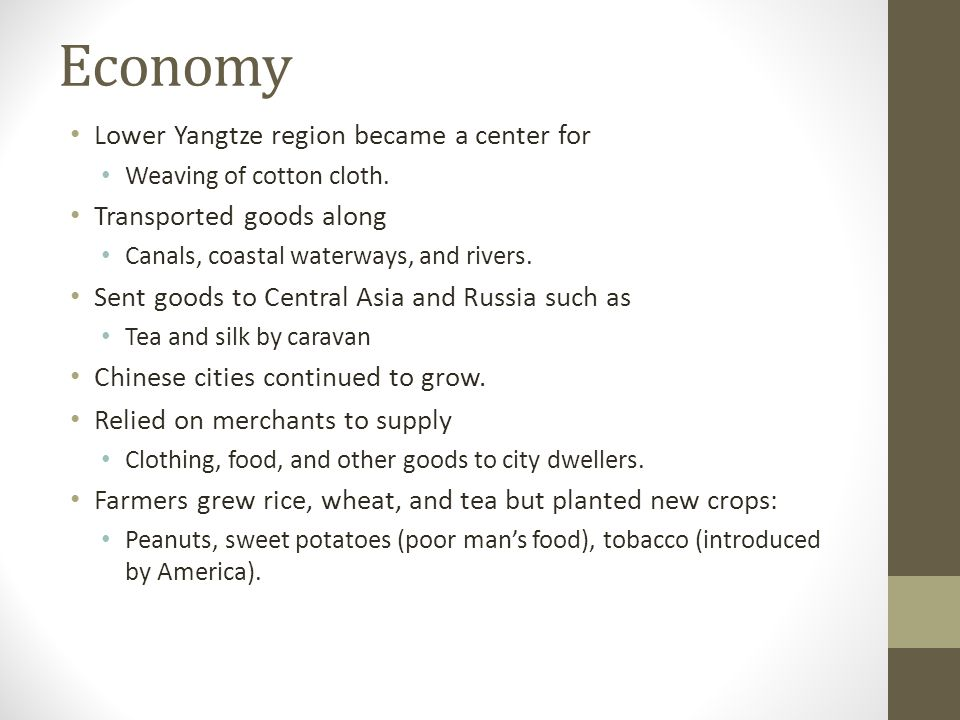 Economy Lower Yangtze region became a center for