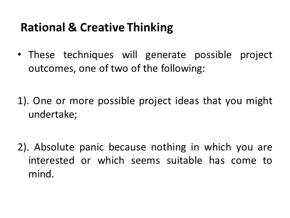 Rational & Creative Thinking
