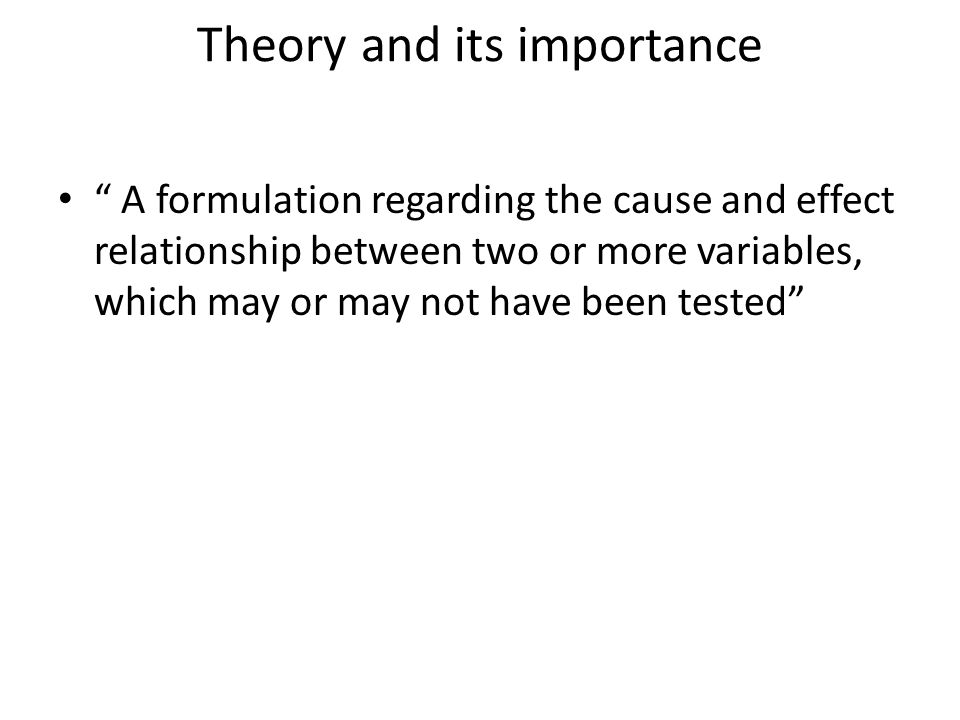 Theory and its importance