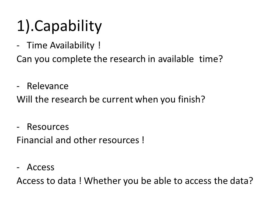 1).Capability Time Availability !