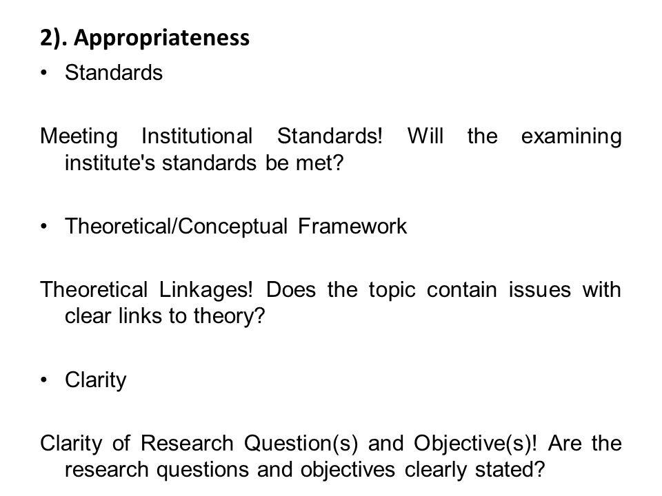 2). Appropriateness Standards
