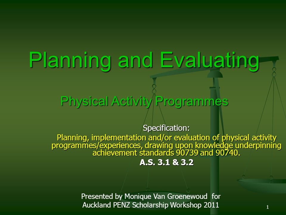 Planning and Evaluating Physical Activity Programmes