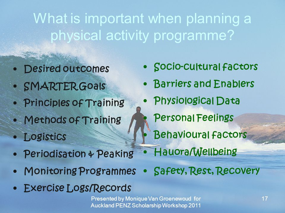 What is important when planning a physical activity programme
