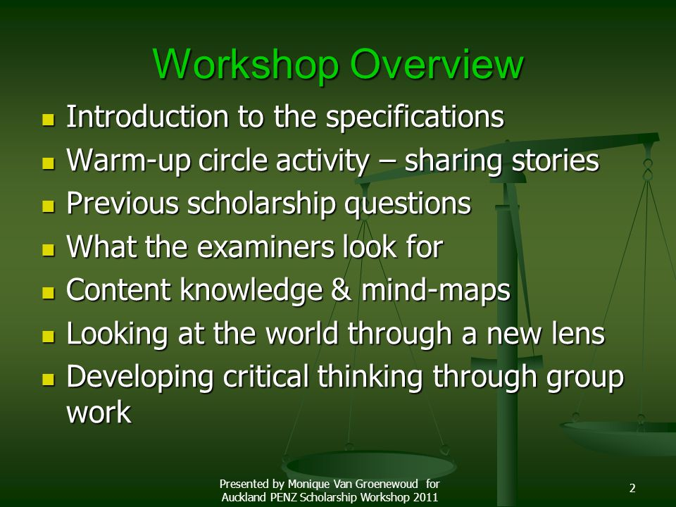 Workshop Overview Introduction to the specifications