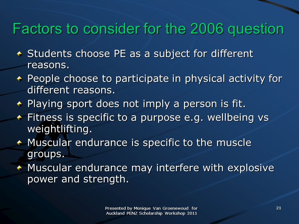 Factors to consider for the 2006 question
