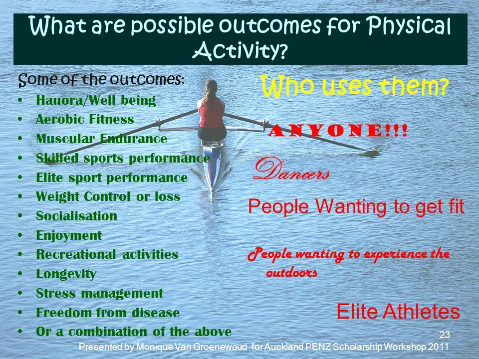 What are possible outcomes for Physical Activity