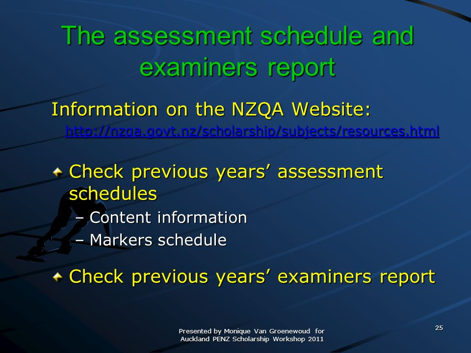 The assessment schedule and examiners report