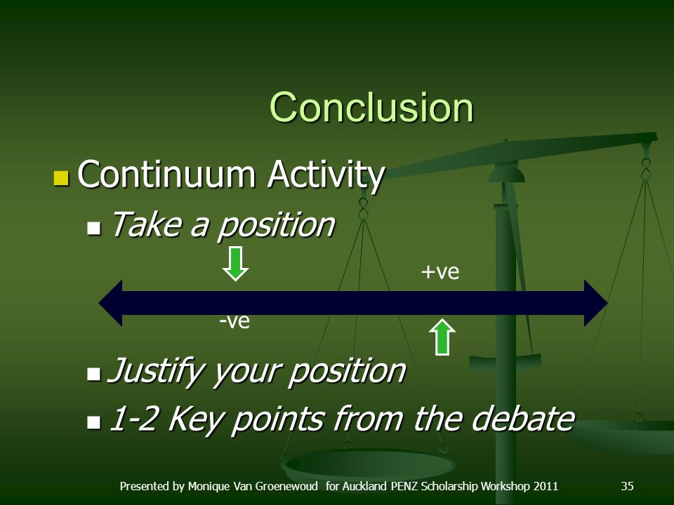Conclusion Continuum Activity Take a position Justify your position