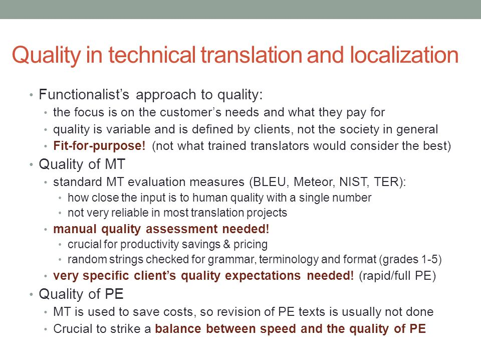 Quality in technical translation and localization