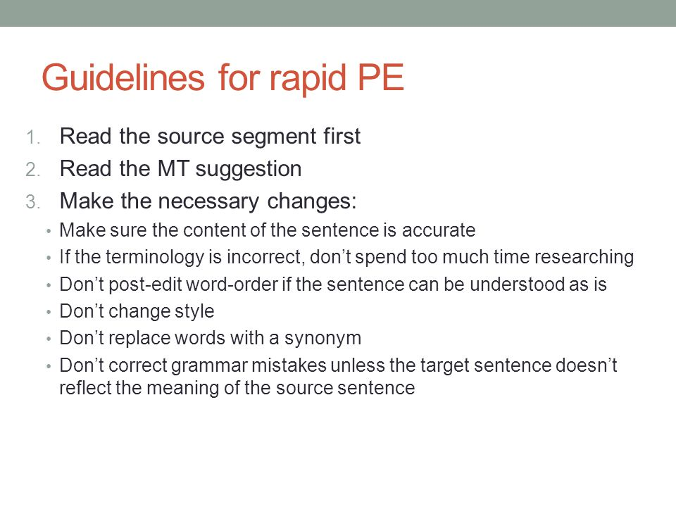 Guidelines for rapid PE