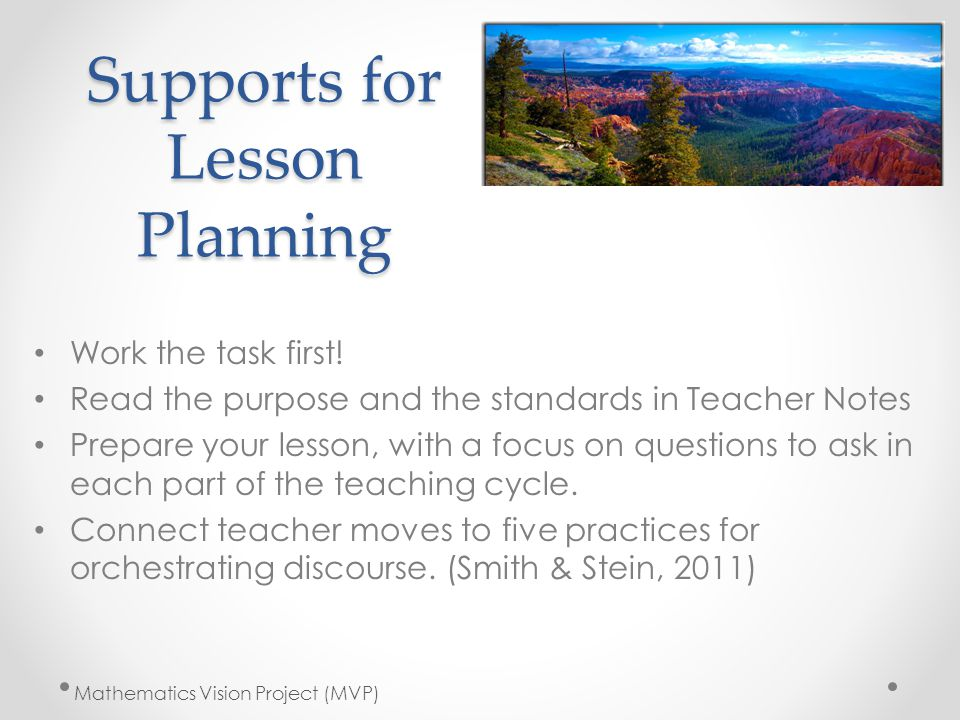 Supports for Lesson Planning