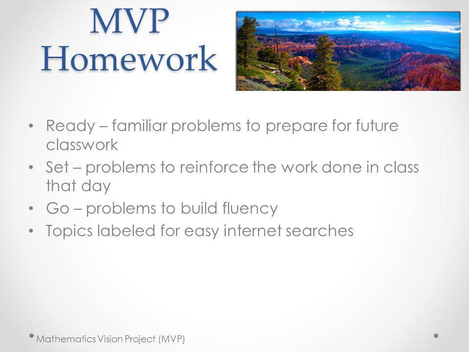 MVP Homework Ready – familiar problems to prepare for future classwork