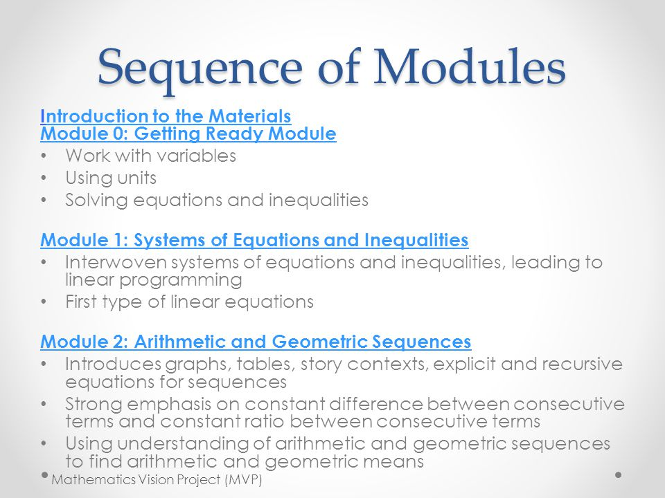 Sequence of Modules Introduction to the Materials Module 0: Getting Ready Module. Work with variables.