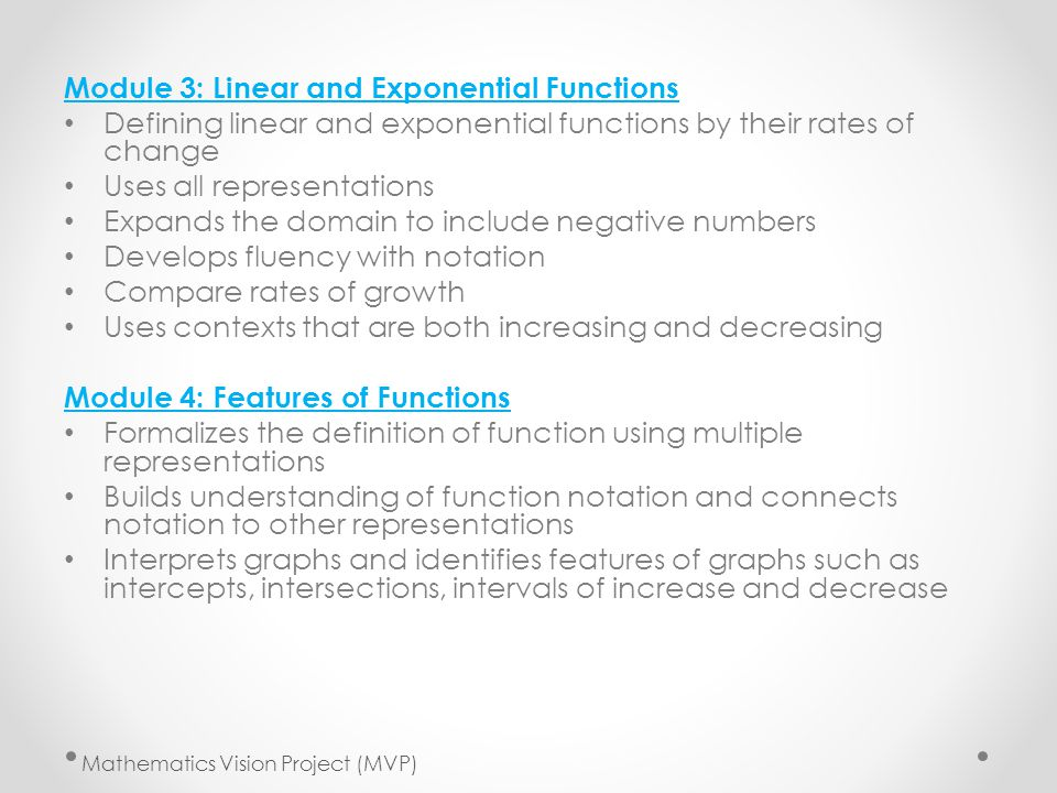 Module 3: Linear and Exponential Functions