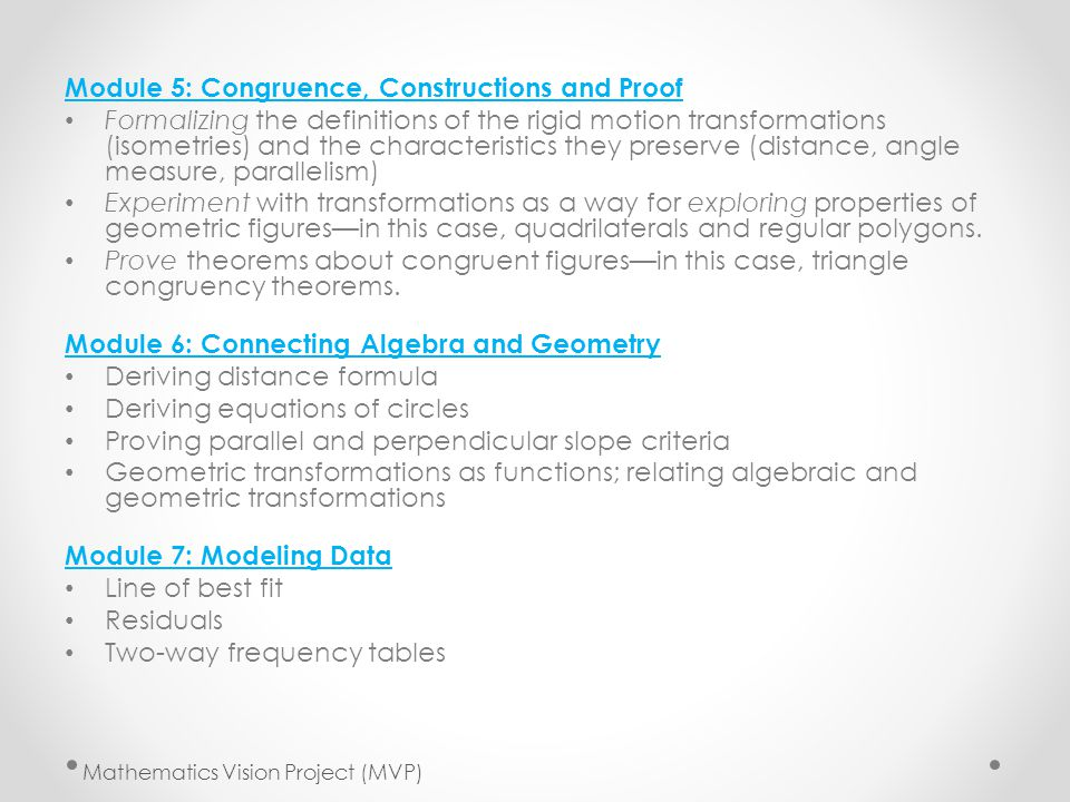 Module 5: Congruence, Constructions and Proof