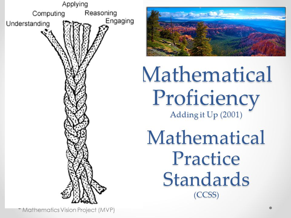 Mathematical Proficiency Adding it Up (2001) Mathematical Practice Standards (CCSS)