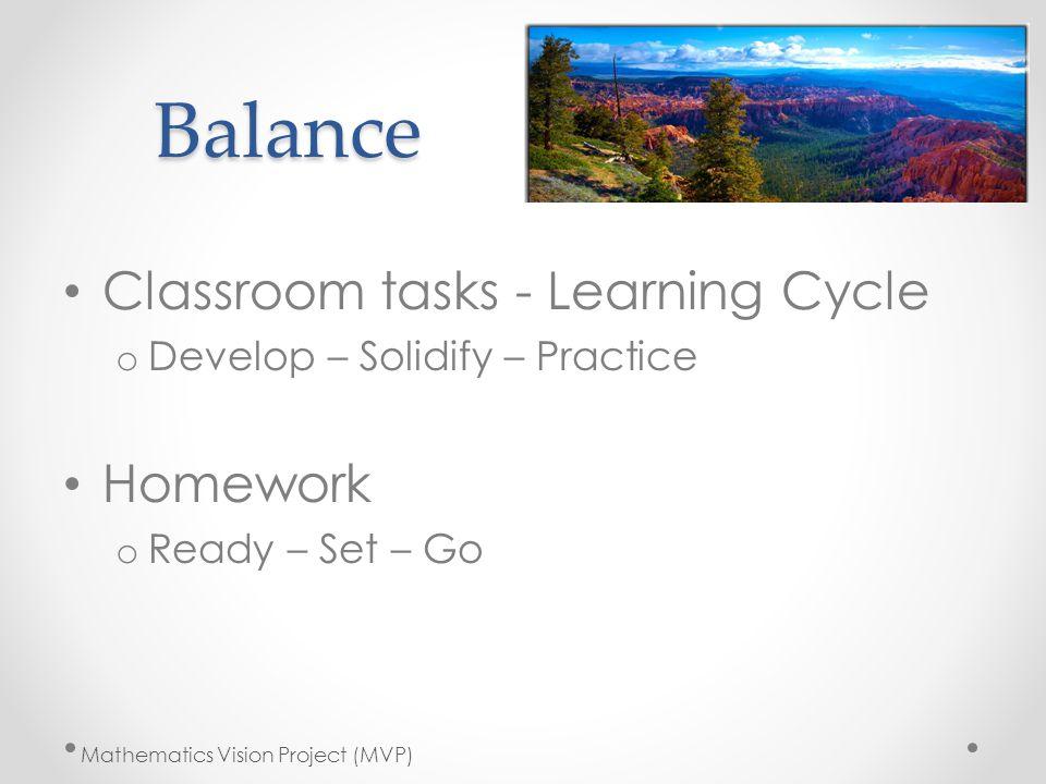 Balance Classroom tasks - Learning Cycle Homework