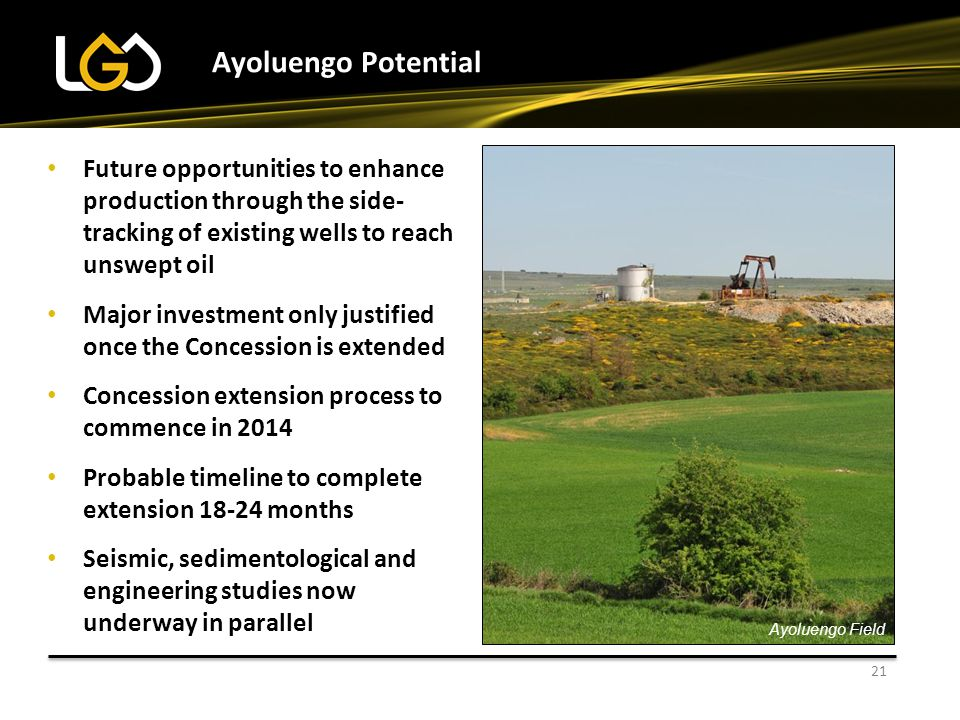 Ayoluengo Potential Future opportunities to enhance production through the side-tracking of existing wells to reach unswept oil.