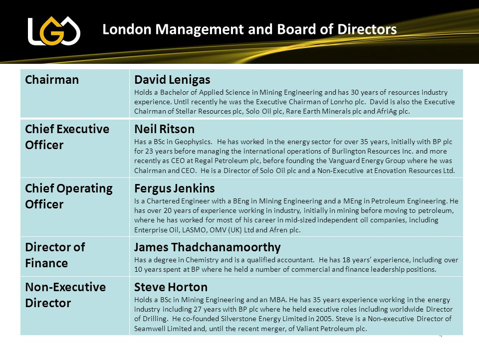 London Management and Board of Directors