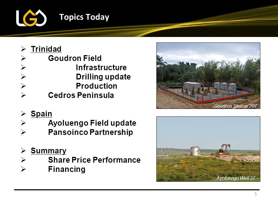 Topics Today Trinidad Goudron Field Infrastructure Drilling update