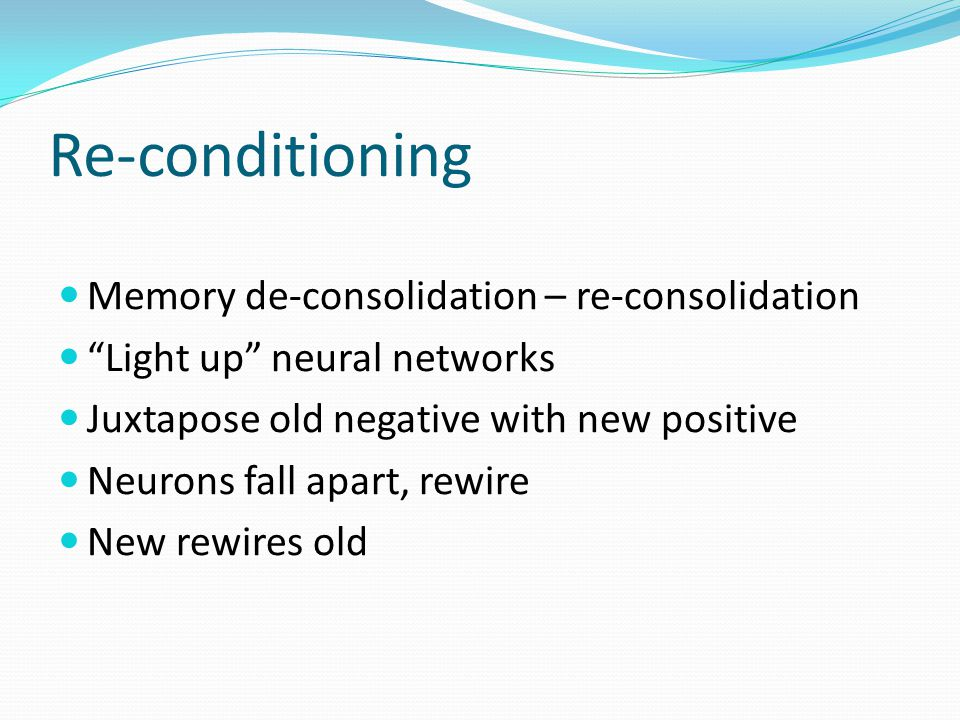 Re-conditioning Memory de-consolidation – re-consolidation