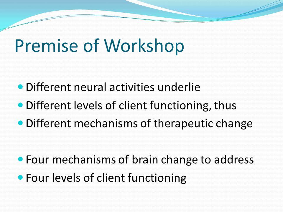 Premise of Workshop Different neural activities underlie