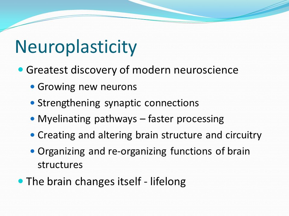 Neuroplasticity Greatest discovery of modern neuroscience