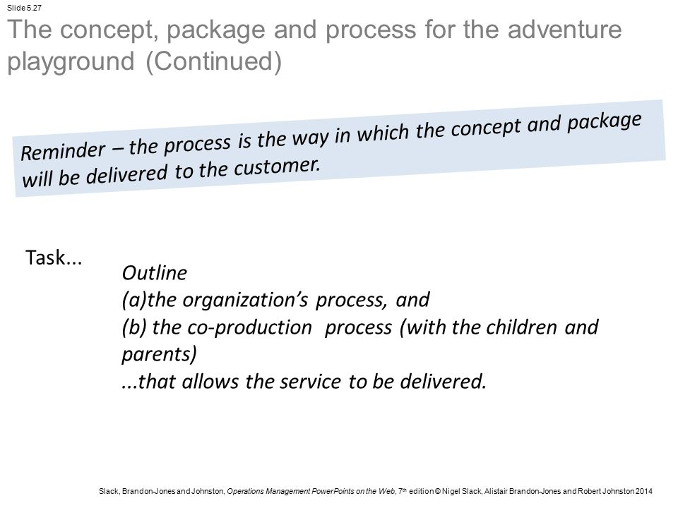 The concept, package and process for the adventure playground (Continued)