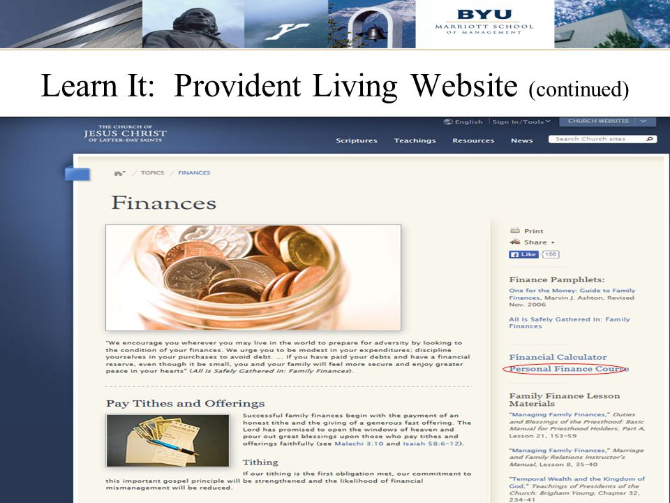 Learn It: Provident Living Website (continued)
