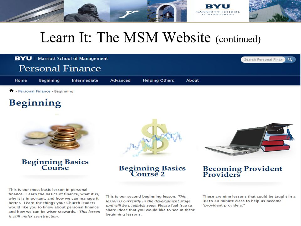 Learn It: The MSM Website (continued)
