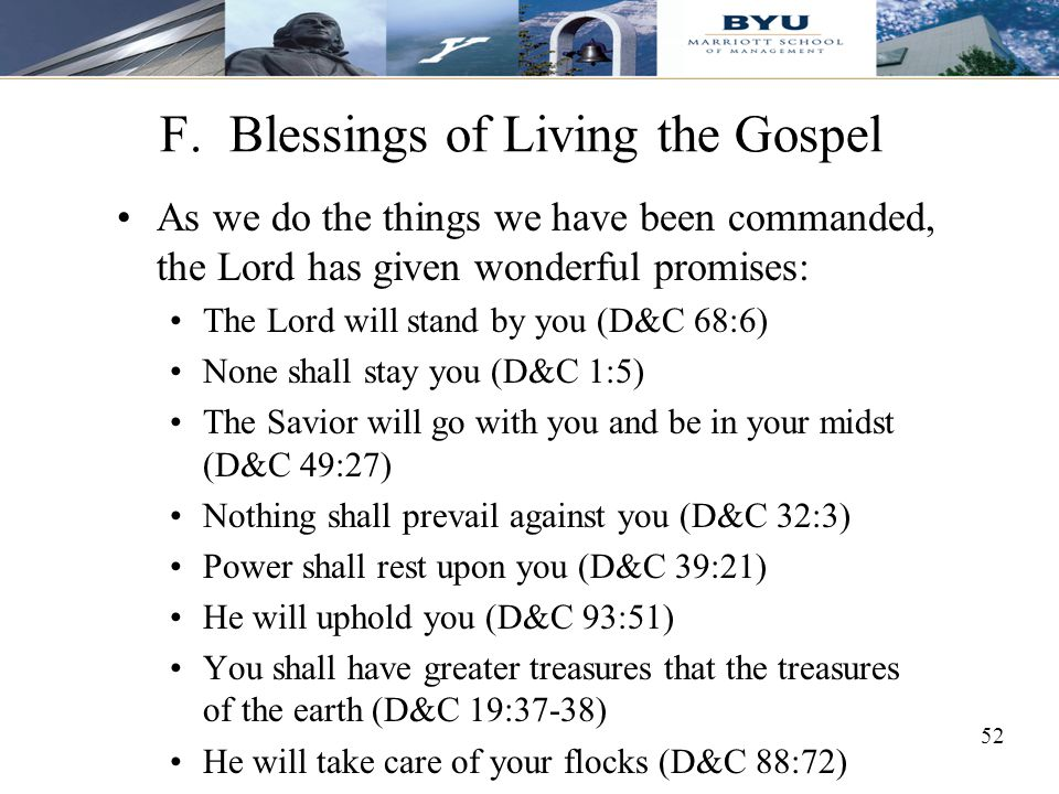 F. Blessings of Living the Gospel