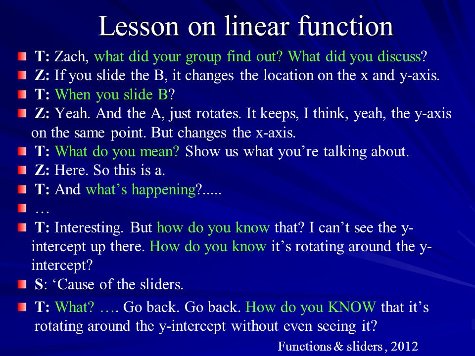 Lesson on linear function