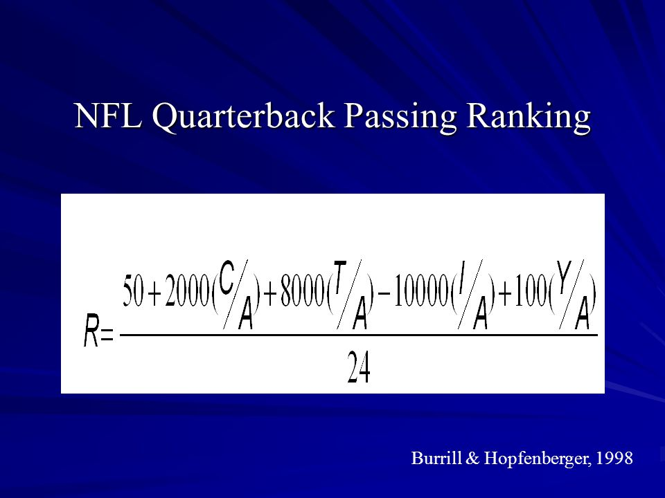NFL Quarterback Passing Ranking
