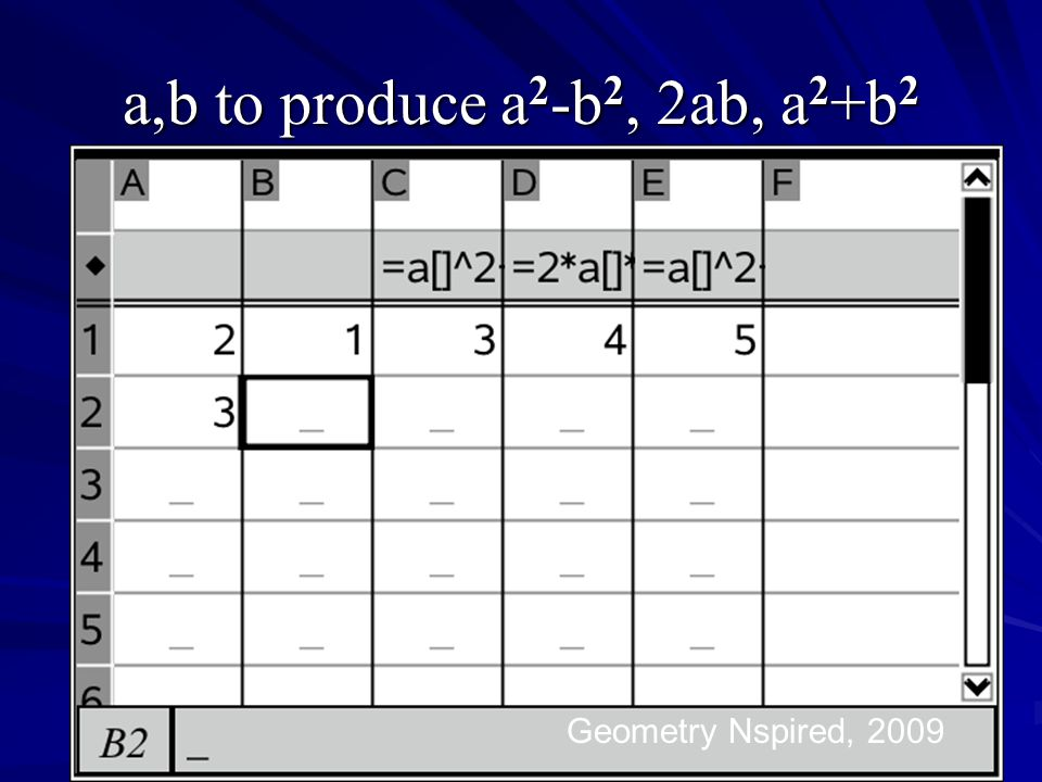 a,b to produce a2-b2, 2ab, a2+b2 Geometry Nspired, 2009