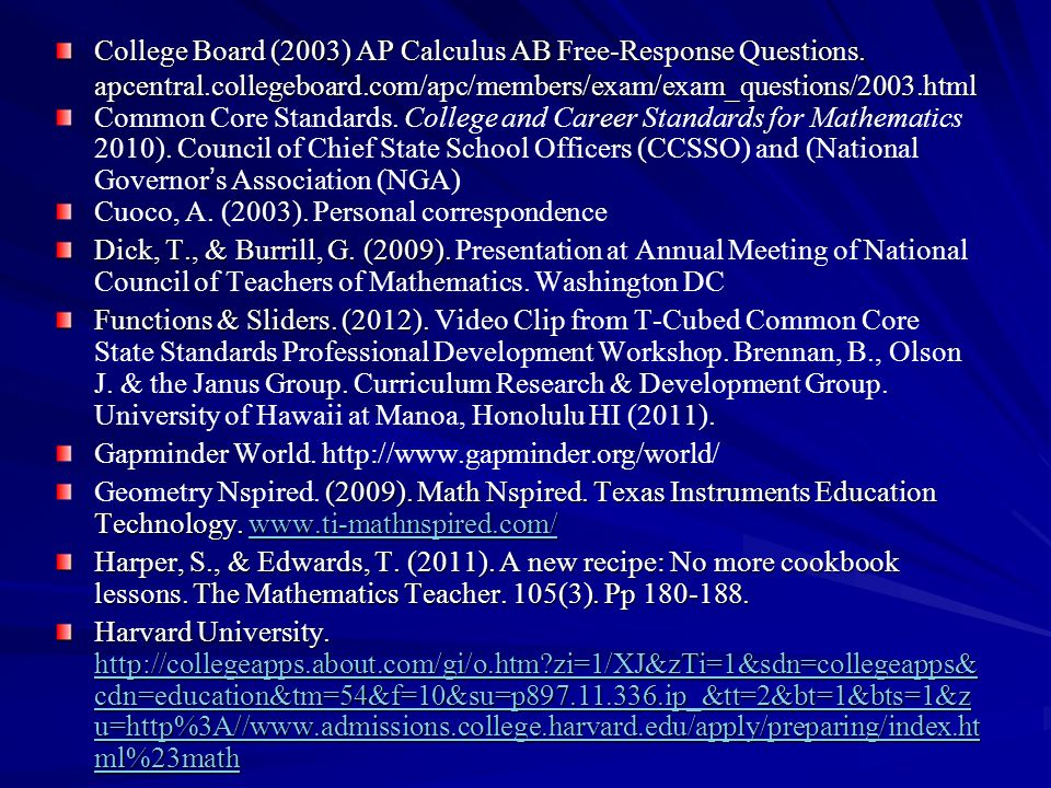 College Board (2003) AP Calculus AB Free-Response Questions. apcentral