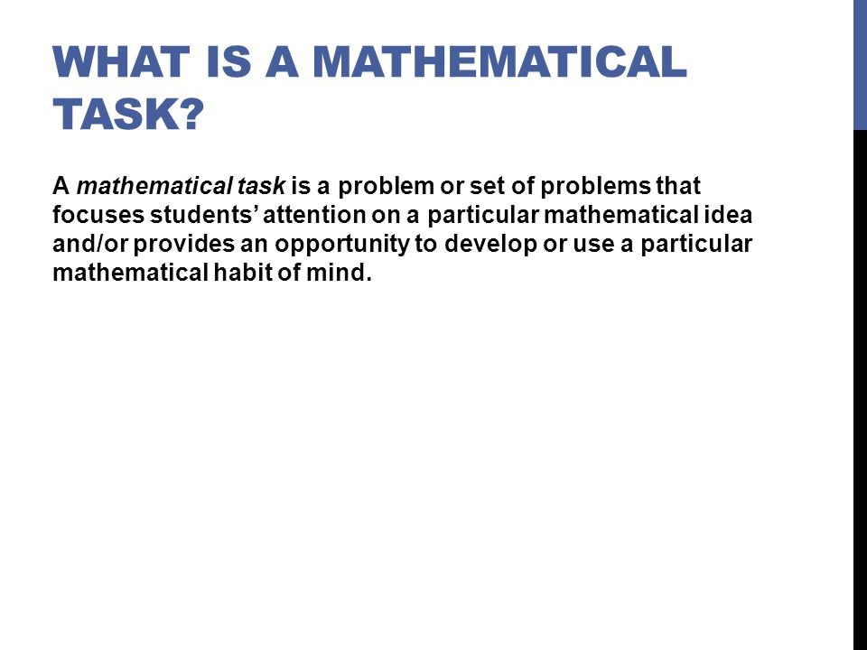 What is a Mathematical Task