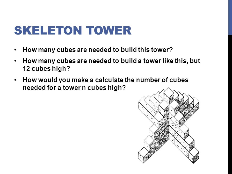 Skeleton Tower How many cubes are needed to build this tower