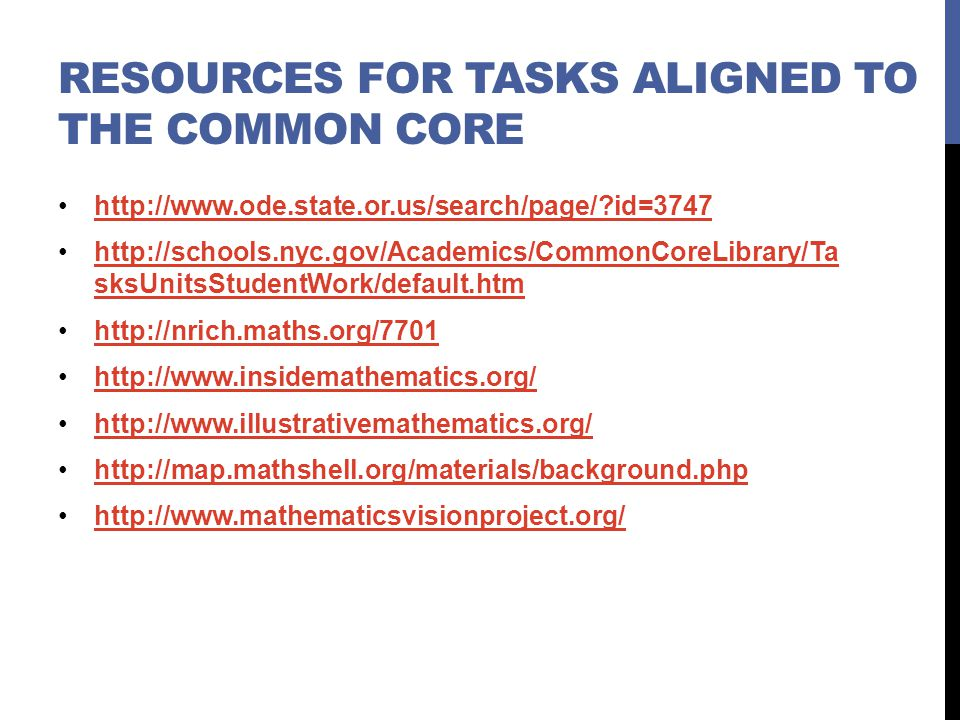 Resources for Tasks aligned to the common core