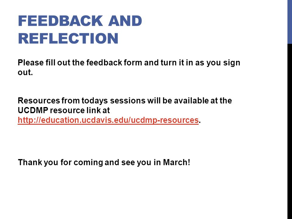 Feedback and Reflection