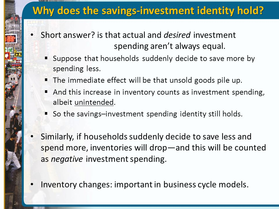 Why does the savings-investment identity hold