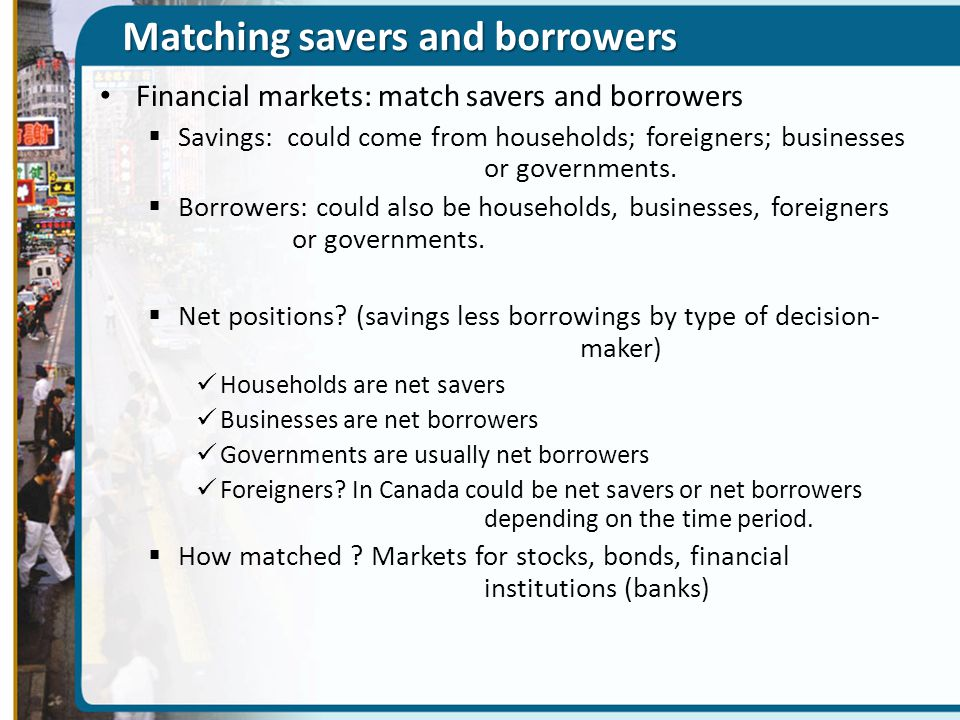 Matching savers and borrowers