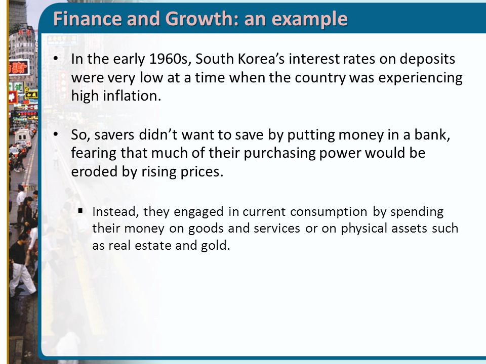 Finance and Growth: an example