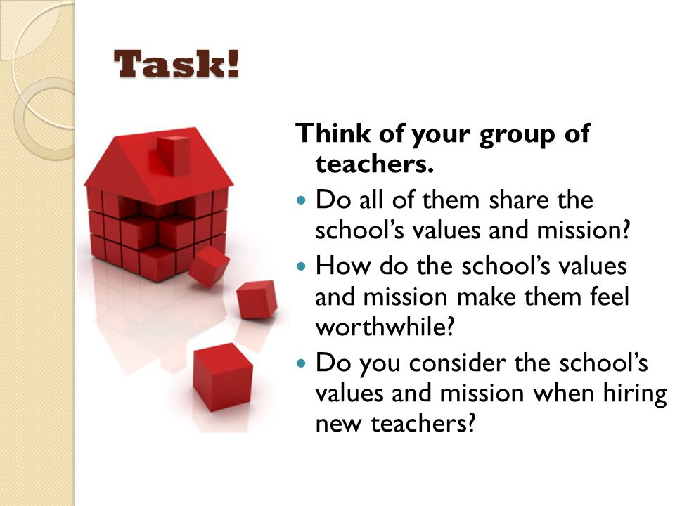 Task! Think of your group of teachers.