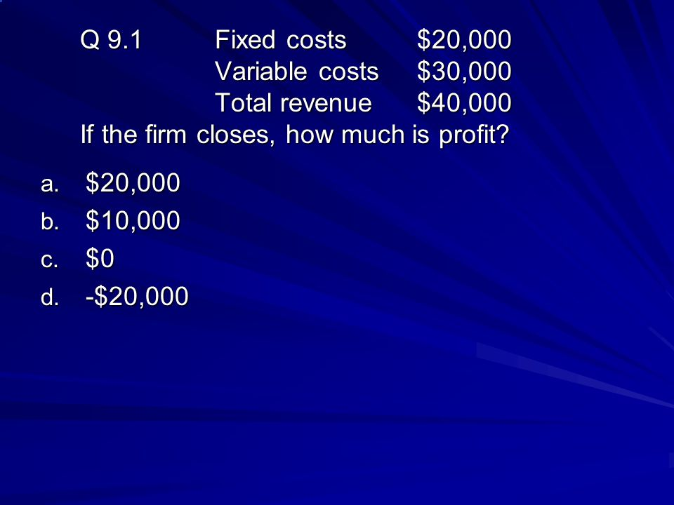 Q 9. 1. Fixed costs. $20,000. Variable costs. $30,000. Total revenue