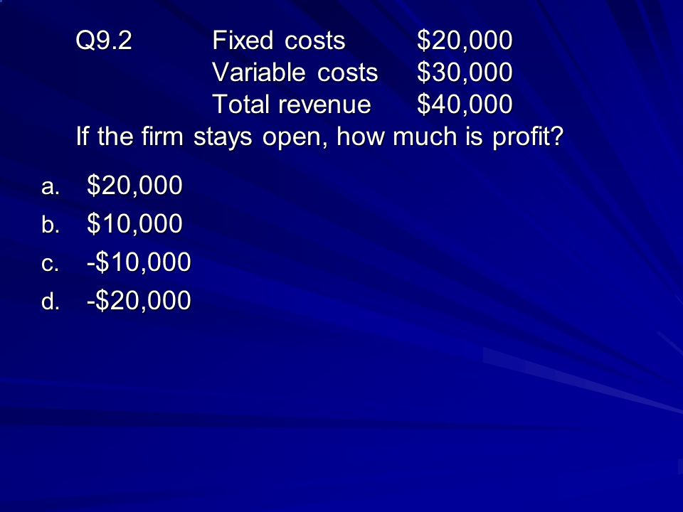 Q9. 2. Fixed costs. $20,000. Variable costs. $30,000. Total revenue