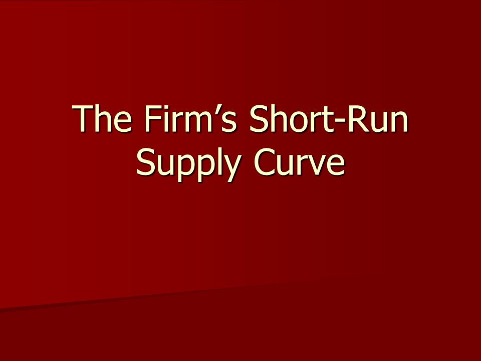 The Firm's Short-Run Supply Curve