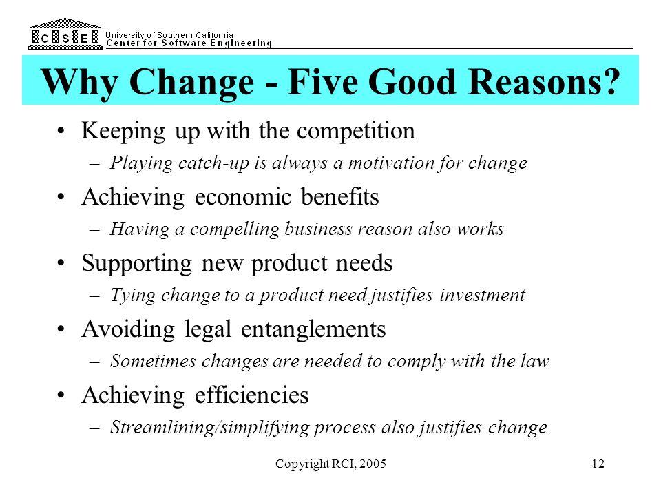 Why Change - Five Good Reasons