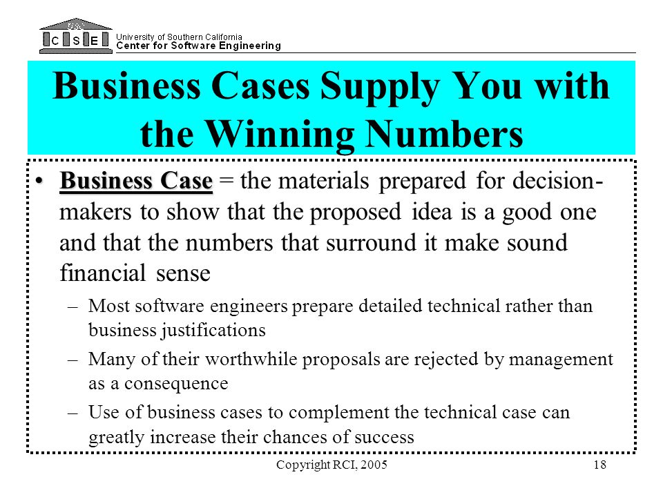 Business Cases Supply You with the Winning Numbers