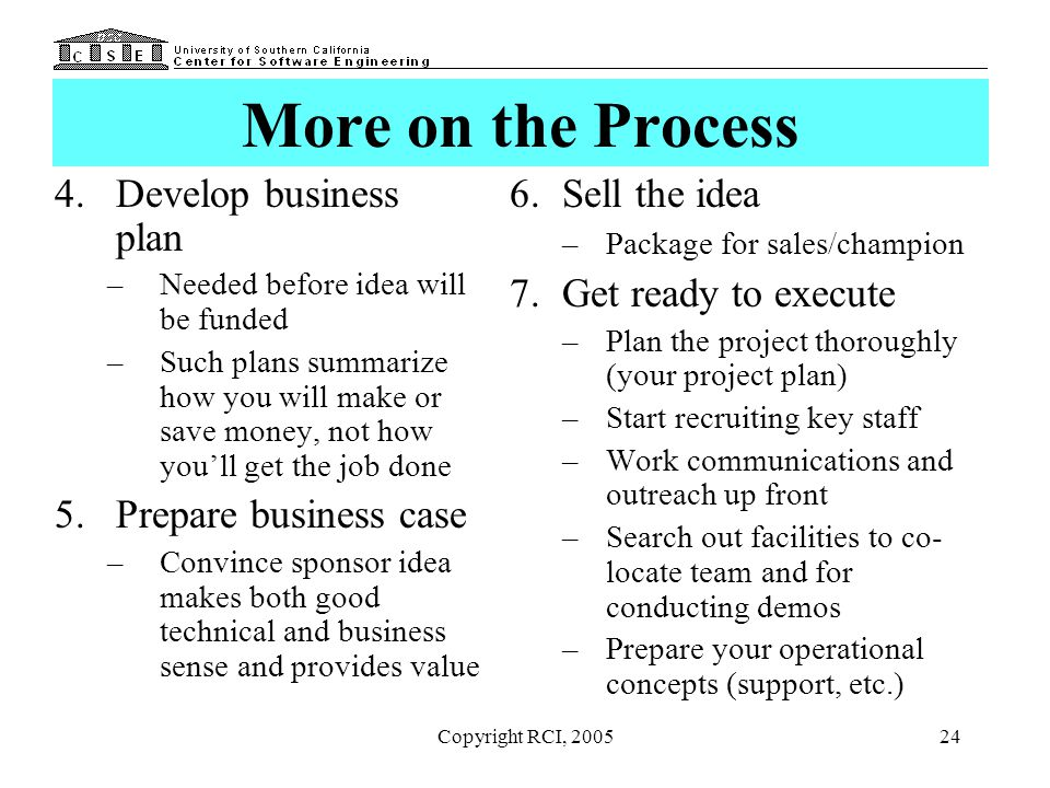 More on the Process Develop business plan Prepare business case