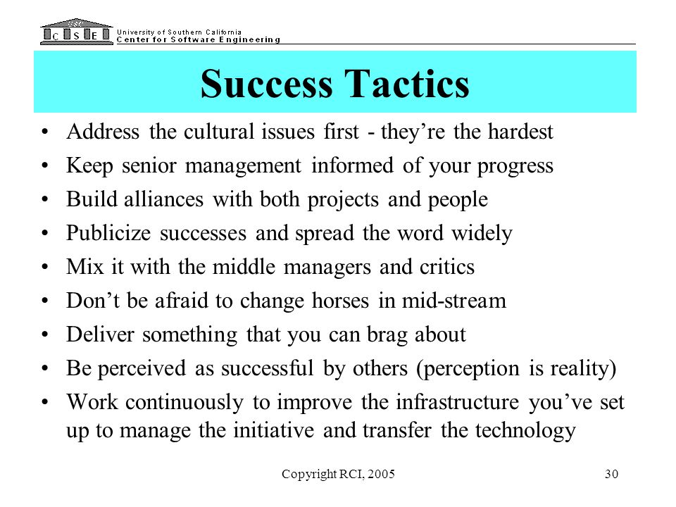 Success Tactics Address the cultural issues first - they're the hardest. Keep senior management informed of your progress.
